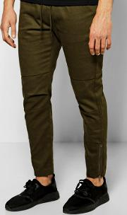 Boohoo , Fit Chinos With Rip Knee And Zips - Khaki