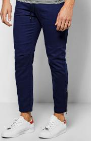 Boohoo , Fit Chinos With Rp Knee And Zips - Navy