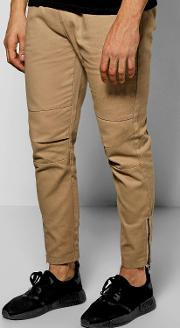 Boohoo , Fit Chinos With Zips - Stone
