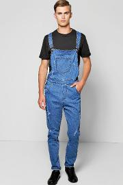 Boohoo , Fit Denim Dungarees With Rips Blue