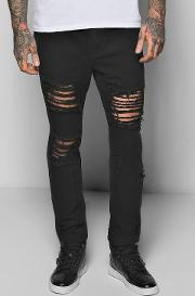 Boohoo , Fit Rigid Destroyed Cropped Jeans - Black