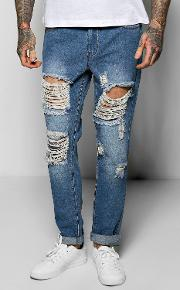 Boohoo , Fit Rigid Destroyed Cropped Jeans Blue