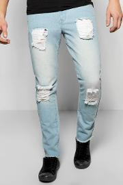Boohoo , Fit Rigid Destroyed Jeans - Blue