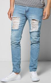 Boohoo , Fit Rigid Jeans With Extreme Knee Rips Blue