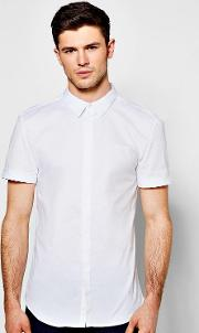 Boohoo , Fit Short Sleeve Stretch Shirt - White