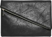 Boohoo , Fold Over Diagonal Zip Clutch Bag - Black