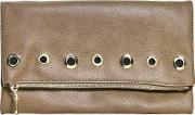 Boohoo , Fold Over Eyelet Zip Clutch Bag - Taupe
