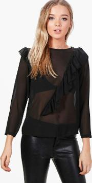 Boohoo , Frill Detail Blouse - Black