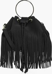 Boohoo , Fringed Duffle Bag With Circle Trim - Black