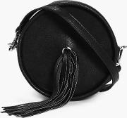 Boohoo , Fringed Eyelet Detail Cross Body Bag - Black