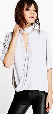 Boohoo , High Cut Out Choker Neck Wrap Front Blouse Silver