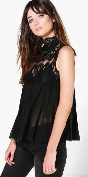 Boohoo , High Neck Lace Sleeveless Pleated Blouse - Black