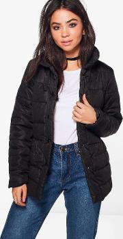 Boohoo , High Neck Quilted Jacket - Black