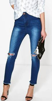 Boohoo , High Rise Busted Knee Skinny Jeans Blue