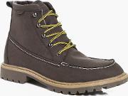 Boohoo , Hiking Boots With Borg Lining - Brown