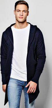 Boohoo , Hooded Cardigan With Extended Cuff - Navy