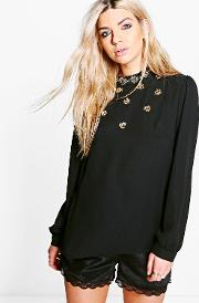 Boohoo , Jessica Embellished Long Sleeve Blouse - Black