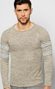 Boohoo , Knit Jumper With Contrast Striped Sleeves - Stone