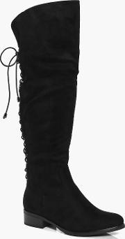 Boohoo , Lace Back Knee Boot - Black