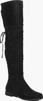 Boohoo , Lace Back Over The Knee Boot - Black
