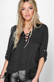 Boohoo , Lace Front Woven Blouse Black