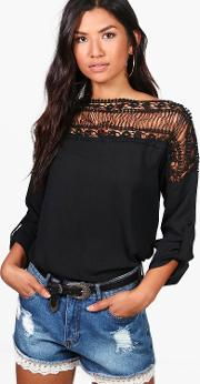 Boohoo , Lace Panel Top - Black