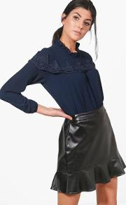 Boohoo , Lace Ruffle Trim Blouse - Navy