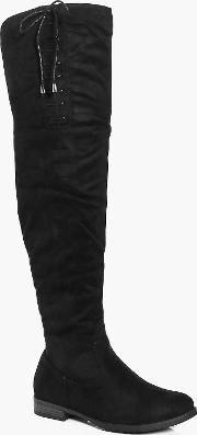 Boohoo , Lace Side Over The Knee Boot - Black