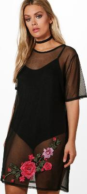 Boohoo , Laura Embroidered Mesh And Bodysuit Dress - Black