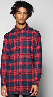 Boohoo , Line Check Shirt With Zip Detail - Red
