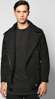 Boohoo , Lined Aviator Jacket With Buckle Detail Black
