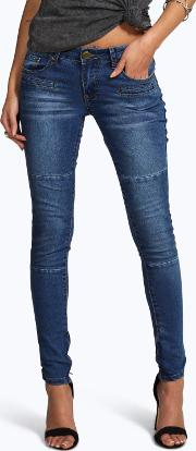 Boohoo , Low Rise Panelled Pocket Detail Skinny Jeans Blue