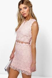 Boohoo , Lucy Lace Double Layer Bodycon Dress Pink