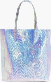 Boohoo , Mermaid Holographic Shopper Beach Bag - Pink