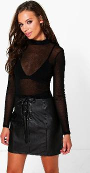 Boohoo , Mesh Long Sleeve Turtle Neck Top Black