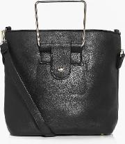 Boohoo , Metal Handle Structured Duffle Bag - Black