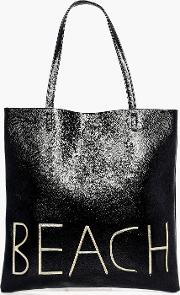 Boohoo , Metallic Beach Shopper Bag - Black