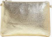 Boohoo , Metallic Zip Top Clutch Bag - Gold
