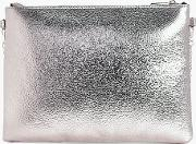 Boohoo , Metallic Zip Top Clutch Bag - Pewter