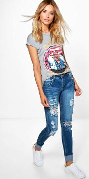 Boohoo , Mid Rise Light Ripped Skinny Jeans Blue