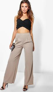 Boohoo , Millie Wide Leg Pleat Trouser Sand