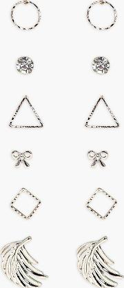 Boohoo , Mixed Shapes 6 Earring Pack Multi
