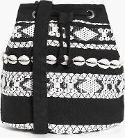 Boohoo , Mono Aztec Shell Detail Duffle Bag - Black