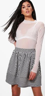 Boohoo , Monochrome Stripe Skater Skirt - Multi