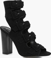 Boohoo , Multi Buckle Block Heel Sandal - Black