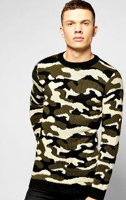 Boohoo , Neck Knitted Camo Jumper - Camo
