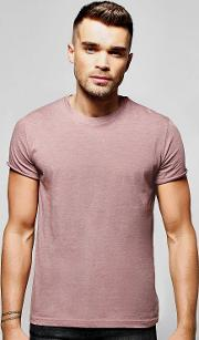 Boohoo , Neck T-shirt With Rolled Sleeve - Brown