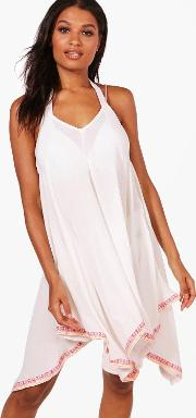 Boohoo , Neon Embroidered Beach Dress - White
