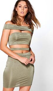 Boohoo , Off The Shoulder Strappy Co Ord Set Khaki