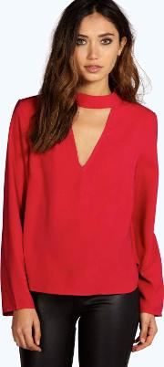 Boohoo , Open Back Detail Long Sleeve Blouse Berry